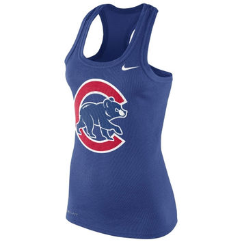 Nike Chicago Cubs Ladies Logo Performance Racerback Tank Top - Royal Blue