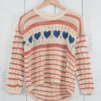 Lucky in Love Heart and Striped Pointelle Knit Boyfriend Sweater in Pink/Blue | Sincerely Sweet Boutique