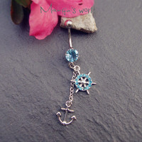 Anchor& Steering Wheel Belly Button Ring Jewelry- Crystal Belly Ring- Nautical Charm Dangle Navel Piercing Bar Barbell- B015