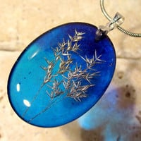 Grass seeds heads necklace, Plant jewelry, leaf jewellery, resin, silver, blue,