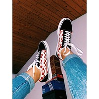 Vans tide brand plaid printing men and women low canvas shoes Black