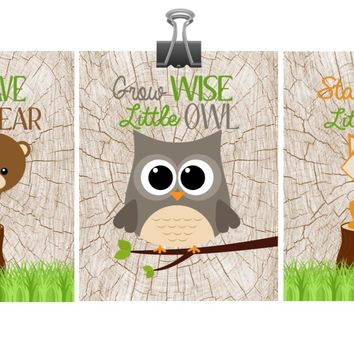 Woodland Nursery Set of 3 Prints, Stay Clever Little Fox, Grow Wise Little Owl, Be Brave Little Bear