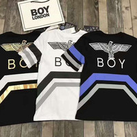 BOY London Woman Men Casual Print Stripe Short Sleeve Tunic Shirt Top Blouse