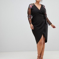 Little Mistress Plus wrapover pencil dress with embroidered sleeve detail at asos.com