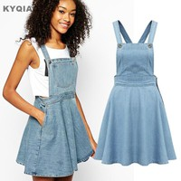 KYQIAO 2017 Women preppy style hippie design light blue denim suspender skirt vintage overalls pinafore skirt free shipping