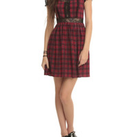 Red Plaid Lace Dress