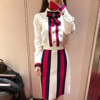 """Gucci"" Women Temperament Fashion Multicolor Stripe Bow Long Sleeve Shirt Skirt Set Two-Piece"