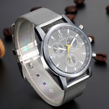 Mens Classic Steel Strap Watch + Gift Box-08