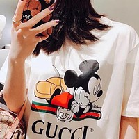 GUCCI Summer Hot Sale Couple Mickey Mouse Print T-Shirt Top Blouse