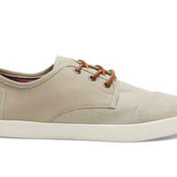 Taupe Leather Washed Canvas Men's Paseos