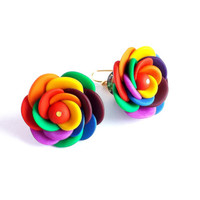 Bright flower earrings, colorful clay roses jewelry, rainbow spring earrings, dangle multicolor gift for women, happy spring finds.