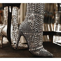 Women Crystal Vintage High Heel Ankle Boots