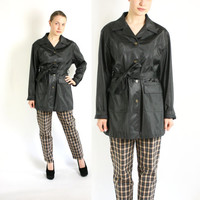 Vintage 90's Black Shiny PVC Single Breasted Belted Raincoat/ Rain Black Trench Coat Jacket -  Large to XLarge