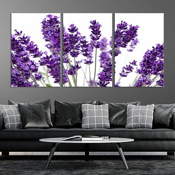 Lavender Flowers Large Wall Art Floral Canvas Print