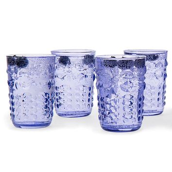 BLOWOUT 6 Pack | Small Fleur de Lys Juice/Wine Drinking Glass (6 Piece Set, Light Blue, Holds Approx 5 oz)  - For Home Decor, Parties, and Wedding Decorations