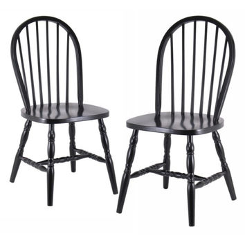 Set of 2 Windsor Chairs Black