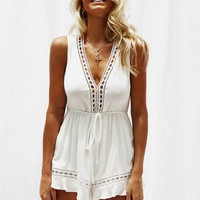 Summer V-Neck Sleeveless Solid Color Rompers