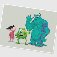 PDF Cross Stitch pattern ---- Monster Inc ---- Pixar Disney Monstropolis Sulley Boo Mike Randall Door Animation Movie