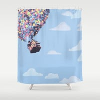 disney pixar up.. balloons and sky with house Shower Curtain by studiomarshallarts