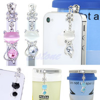 3.5mm Jack Cat Crystal Dust Plug Anti Earphone Cap Stopper For iPhone 6 for Samsung