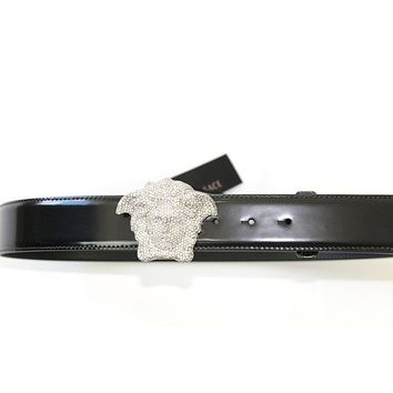 Versace Silver Crystal Medusa Buckle Leather Belt Black Rpp: 1100 £