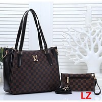 Louis Vuitton LV Women Fashion Leather Tote Crossbody Shoulder Bag Satchel Set Two Piece