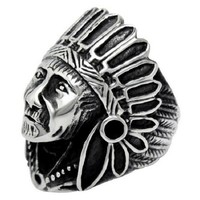 Vintage Indian Chief Face Ring Classic Men Jewelry Antique Silver Color Fashion Design Men's Biker Ring Punk Indian Ring