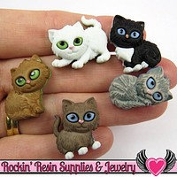Jesse James Buttons 5 pc KITTEN KABOODLE Cat Buttons / Turn them Into Flatback Cabochons