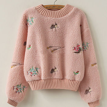 Embroidered Detail Faux Shearling Sweatshirt