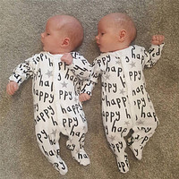 2018 New style Infant Clothes Baby Rompers Long sleeve Fashion Letter Happy Print Jumpsuit Newborn Toddler Baby Boy Girl Clothes