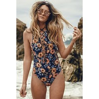 Bali Floral Kira Lace Up One Piece Swimsuit