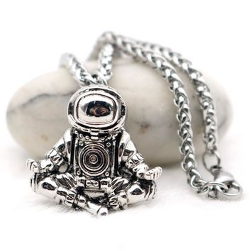 Meditating Astronaut Stainless Steel Necklace