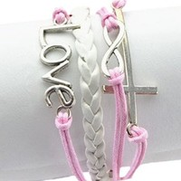 E--Shopping Vintage Silver Infinite Bracelet Love Leather Rope Cross Infinity (pink & white):Amazon:Sports & Outdoors