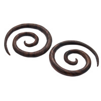 Full Spiral Dark Raintree Wood Plugs