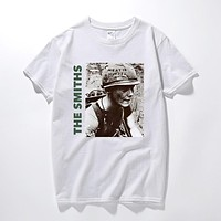 The Smiths T Shirt Top English Rock Band Meat Is Murder 1985 Morrissey Marr cotton short-sleeved O neck t-shirts euro size