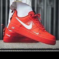 NIKE AIR FORCE 1 07 LOW Fashion Women Men Running Sports Shoes Sneakers Red