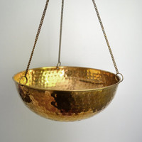 Vintage Hanging Brass Planter Hammered Metal Soft by saltandginger