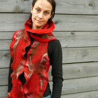 Ruffle wool felted scarf women Red Brown Gifts under by JaneBoFelt
