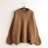 Loose Big Korean Solid Color Pullover Sweater