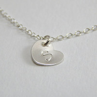 Personal necklace, initial necklace, heart necklace, silver initial necklace, child monogram, love necklace, love initial, baptism gift,
