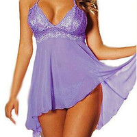 SEXY Sheer Purple Babydoll Lingerie Nighty Plus Size