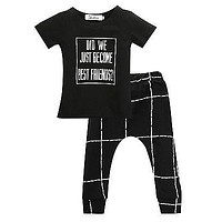 Kids clothes sets boy letter t-shirt+ Plaid pants suit clothing set newborn sport suits baby boy clothes children boys clothes