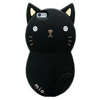 """TFS iPhone 6 Plus Case ,iPhone 6 Plus 5.5"""" Silicone cover ,3D Cute Cat Cartoon Designed Soft Silicone Protective Case Cover for Apple iPhone 6 Plus 5.5inch (Black)"""