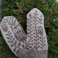 Mittens With Owl | Brown Warm Mittens | Wool Owl Gloves | Owl Gloves | Wool Gloves | Knitted Women's Mittens | Chocolate Brown Mittens