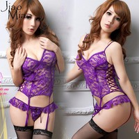 Jiao Miao Tiny Heart Pattern Halter Neck women Sexy Costumes Erotic Lingerie Lace Chemises Sleepwear Casual Loose Exotic Apparel
