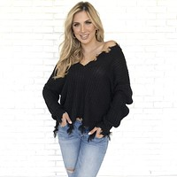 Jagged Edge Knit Sweater In Black