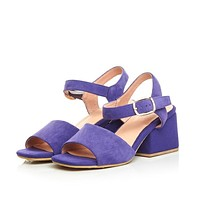 Suede Ankle Straps Square Heel Pump Sandals 9353