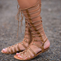 Desert Sand Lace Up Gladiator Sandals (Tan)