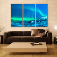 Glacier Aurora Borealis Night Snow Print 3 Panels Print Wall Decor Fine Art Photography Repro Print for Home and Office Wall Decoration