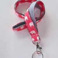 Elephant Lanyard  ID Badge Holder - Coral pink and white elephants with white pin polka dots on gray  - Lobster clasp and key ring
